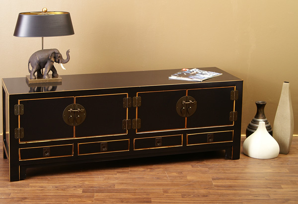 sideboard chinesisches lowboard tv board china schwarz ebay. Black Bedroom Furniture Sets. Home Design Ideas