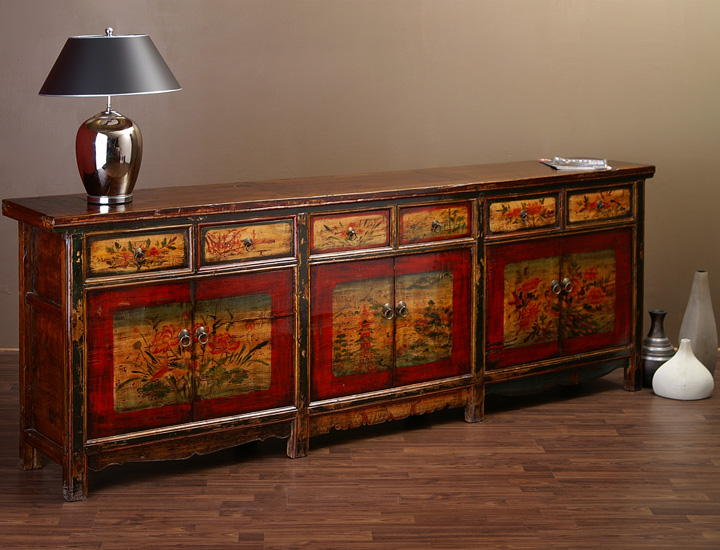 antikes chinesisches sideboard 257cm china highboard antik ebay. Black Bedroom Furniture Sets. Home Design Ideas