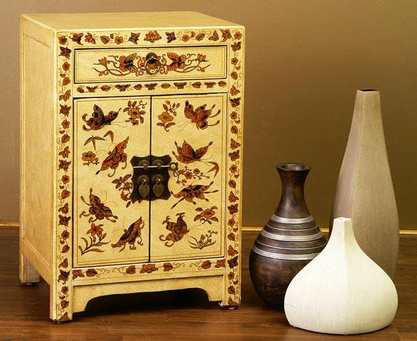 chinesische kommode nachtschrank china m bel leder weiss wei cremeweiss creme ebay. Black Bedroom Furniture Sets. Home Design Ideas