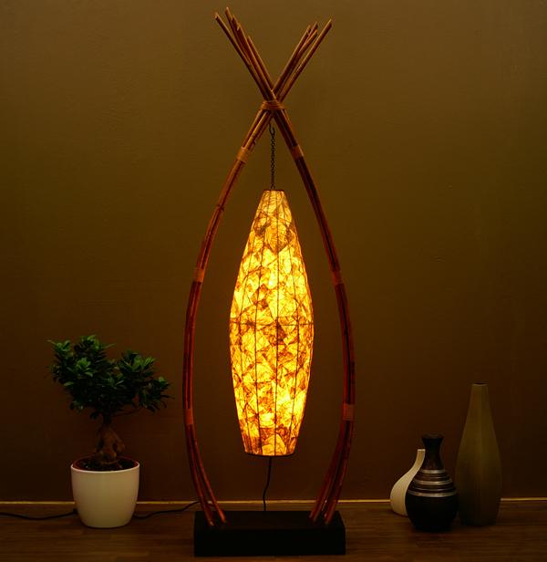 lampe designer teak leuchte stehlampe henna 165cm 62d ebay. Black Bedroom Furniture Sets. Home Design Ideas